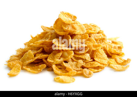 Heap of cornflakes isolated on white. - Stock Photo