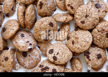 Background of chocolate chip cookies cereal in milk from above. - Stock Photo