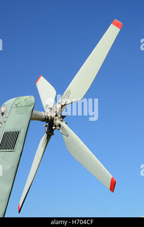 Blade of white helicopter - Stock Photo