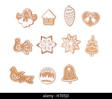 Gingerbread with frosting, different shapes isolated on white background. - Stock Photo