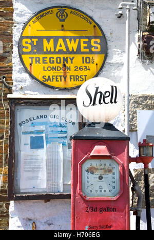 St Mawes Cornwall England UKI historical old Cornish petrol filling station AA sign Shell petrol pump displaying - Stock Photo