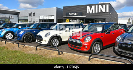 Used car dealers display of a line of colourful second hand BMW Mini cars for sale on forecourt of Sytner dealership - Stock Photo