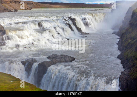 A view of Gullfoss Falls, Iceland. - Stock Photo