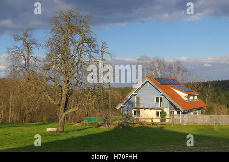 German rural landscape with wooden house near Black Forest Baden Wuertemberg, Schoemberg in Germany