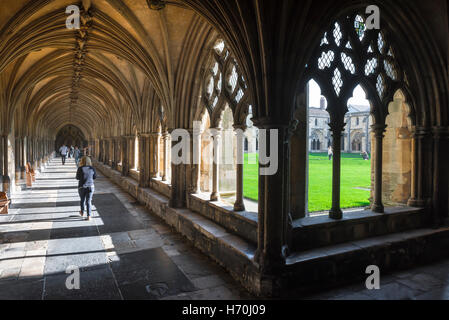 Cloister cathedral, view of the northwest corner of the 14th century cloisters in Norwich Cathedral, Norfolk, England, - Stock Photo