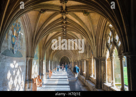 Norwich cathedral cloisters, view of the interior of the 14th century north cloister in Norwich Cathedral, Norfolk, - Stock Photo