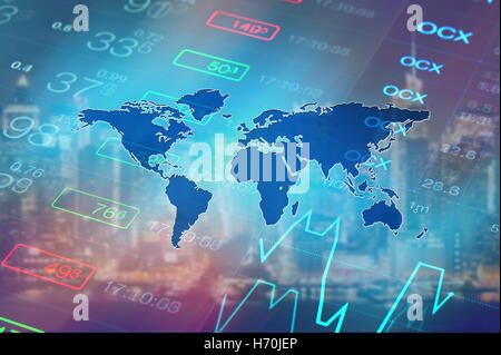 Global economy, financial, stock market, global business concept background. Stock market data and chart at background - Stock Photo