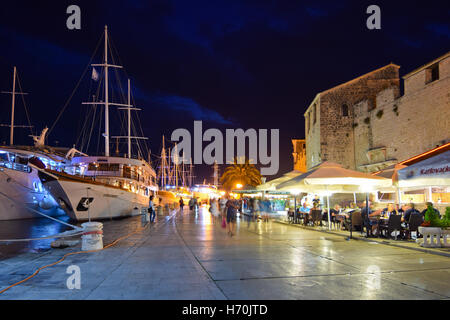 Trogir is a historic UNESCO town and harbour on the Adriatic coast and a popular tourist destination - Stock Photo