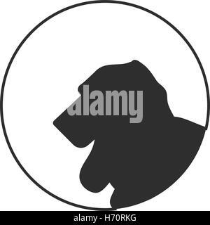 Silhouette of a dog head beagle. Purebred friend animal. Vector illustration - Stock Photo
