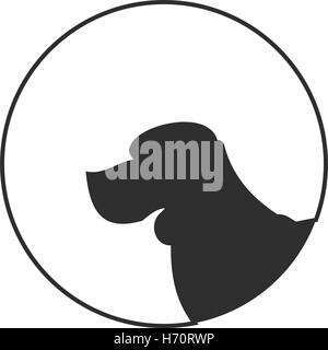 Silhouette of a dog head beagle. Young purebred doggy. Vector illustration - Stock Photo