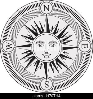 Vector Illustration Vintage Compass Rose With The Sun In Center Black And White Design