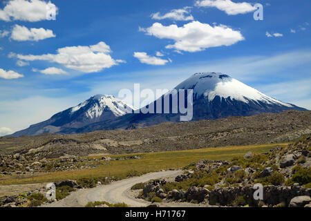 Scenic view of volcanic group. Payachata volcanic group at Lauca National Park, Chile - Stock Photo