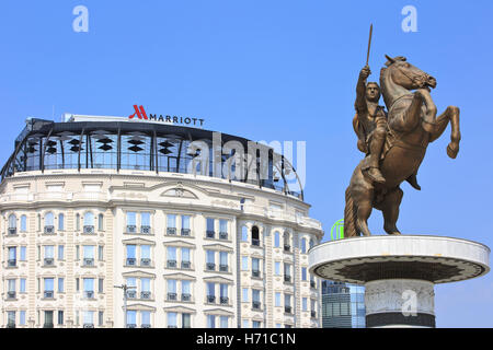 Statue of Alexander The Great outside the Marriott Hotel at the Macedonia Square in Skopje, Macedonia - Stock Photo