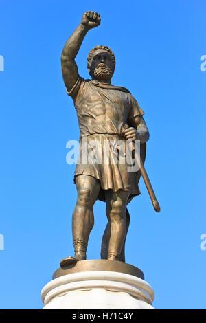 Statue of King Philip II of Macedon (382-336 BC) in Skopje, Macedonia - Stock Photo