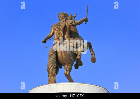 Statue of Alexander The Great (Warrior on a Horse statue) at Macedonia Square in Skopje, Macedonia - Stock Photo