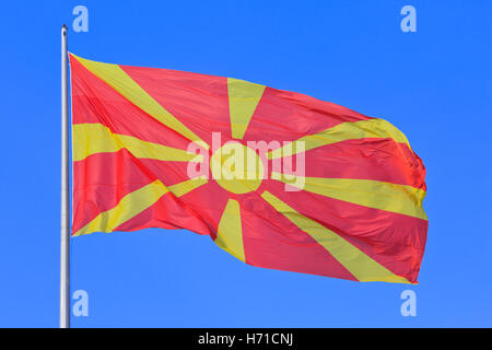 The national flag of the Republic of Macedonia (since 5 October 1995) - Stock Photo