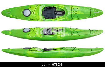 Top And Two Side Views Of Green Crossover Kayak Whitewater River Running