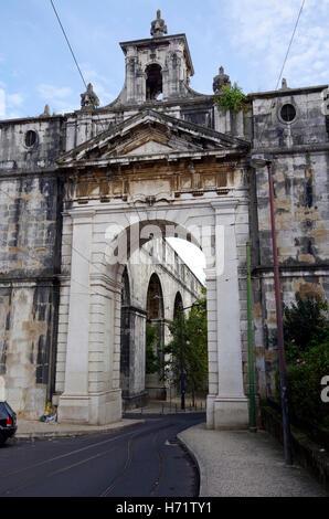 Lisbon, Triumphal arch, Aguas Livres, aqueduct pure drinking water - Stock Photo