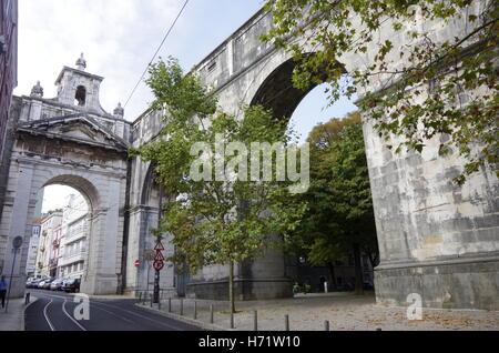 Lisbon, Aguas Livres, aqueduct pure drinking water - Stock Photo