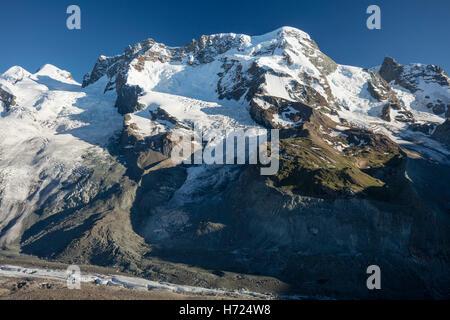 The Breithorn from Gornergrat, Zermatt, Pennine Alps, Valais, Switzerland. - Stock Photo