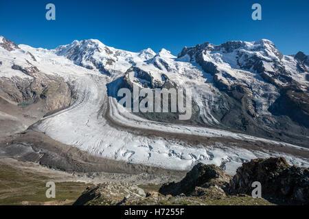 Lyskamm and Breithorn above the Gorner Glacier, Zermatt, Pennine Alps, Valais, Switzerland. - Stock Photo