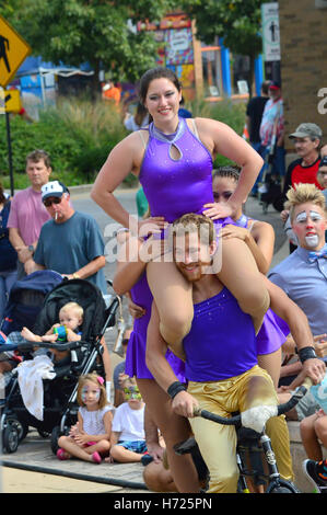 Circus Performers at Sweet corn & Blues Festival - Stock Photo
