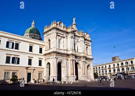 Basilica of the Shrine of Our Lady of the Rosary, Santuario della Madonna del Rosario, modern Pompei, architects - Stock Photo