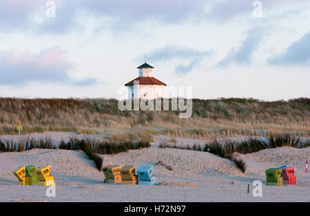 Water tower on the North Sea island Langeoog, Lower Saxony - Stock Photo