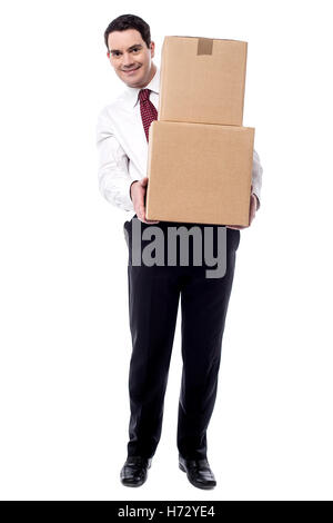 motion postponement moving movement isolated male masculine european caucasian package business dealings deal business - Stock Photo