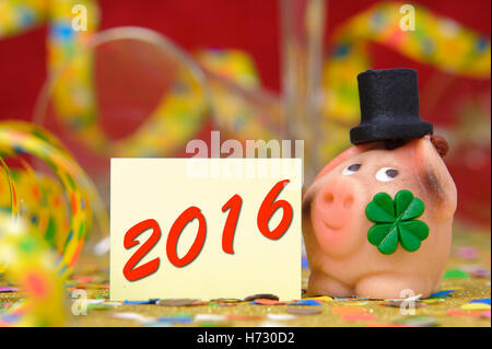 new year 2016 lucky pig and clover for good luck and talisman - Stock Photo