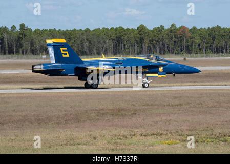 NAS Pensacola Florida USA  Blue Angels FA 18 Hornet jet prepare for take off at their Pensacola base - Stock Photo