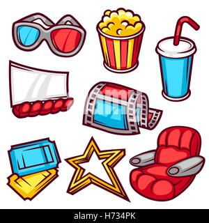 Set of movie elements and cinema objects in cartoon style - Stock Photo