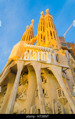 Gaudi's La Sagrada Familia cathedral  in Barcelona, Spain. - Stock Photo