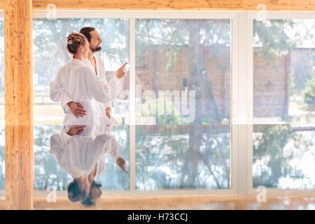 woman shine shines bright lucent light serene luminous inside relaxation tree trees garden romantic european caucasian - Stock Photo