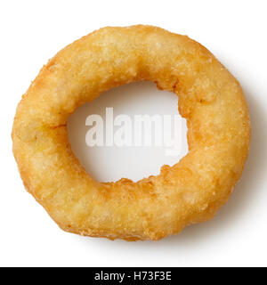 Single deep fried onion or calamari ring isolated from above. - Stock Photo