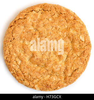 Single whole golden oat biscuit. Shot from above. - Stock Photo