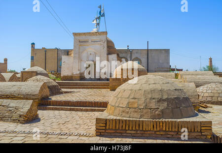 The medieval muslim cemetery outside the citadel walls of Khiva, Uzbekistan. - Stock Photo