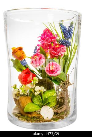 glass chalice tumbler cup arrangement isolated closeup flower plant bloom blossom flourish flourishing flowers tulips - Stock Photo