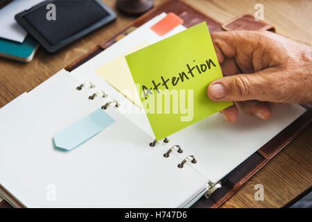 Attention Urgent Planner Agenda Concept - Stock Photo