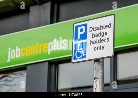 Disabled badge holder sign in front of Job Centre Plus Office, Doncaster - Stock Photo