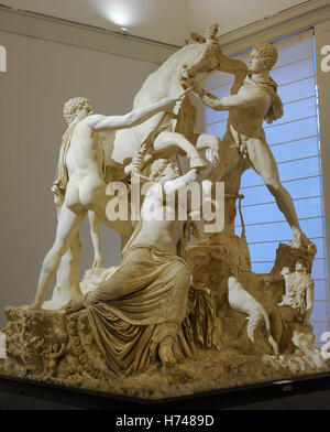 The Farnese Bull. Roman copy (3rd century AD) of a Hellenistic sculpture. Myth of Dirce. She was tied to a wild - Stock Photo