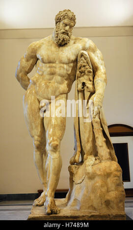Hercules at rest or Farnese Hercules. Roman copy, end 2nd-early 3rd centuries Ad, from a Greek original of second - Stock Photo