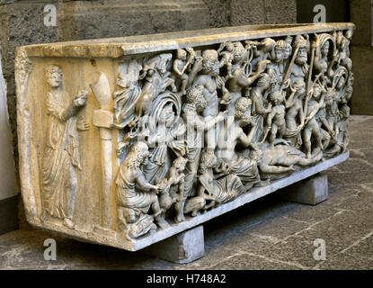 Sarcophagus with the creation of mankid by Prometheus. White marble, from Pozzuoli, Italy. 4th century AD. National - Stock Photo