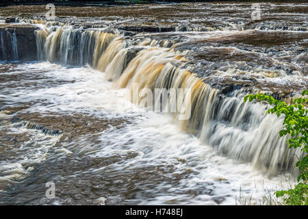 Close Up of the Aysgarth Upper Waterfall on the River Ure in Wensleydale in the Yorkshire Dales National Park - Stock Photo
