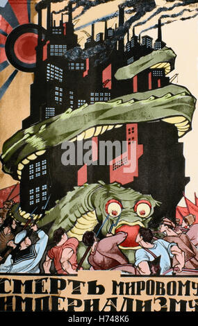 Russia. Communism. Soviet propaganda poster. Death to World Imperialism. Colored. - Stock Photo
