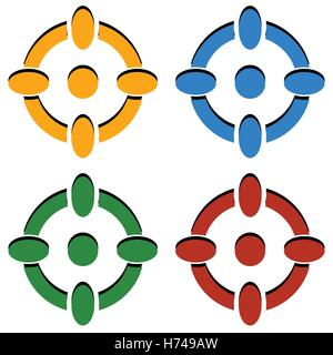 Crosshair / target mark / reticle icons in 4 color - Stock Photo