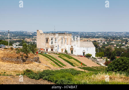 Panoramic view over local countryside from Martina Franca, a town in the province of Taranto, Apulia, southern Italy - Stock Photo