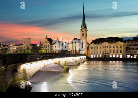Zurich. Image of Zurich, capital of Switzerland, during dramatic sunset. - Stock Photo