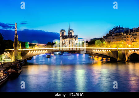 Notre dame de Paris at night and the seine river France in the city of Paris in France - Stock Photo