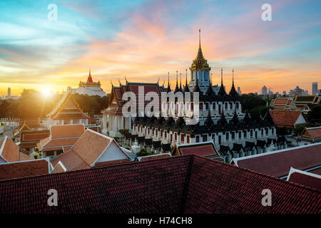 Wat Ratchanatdaram temple and Metal Castle in Bangkok, Thailand - Stock Photo